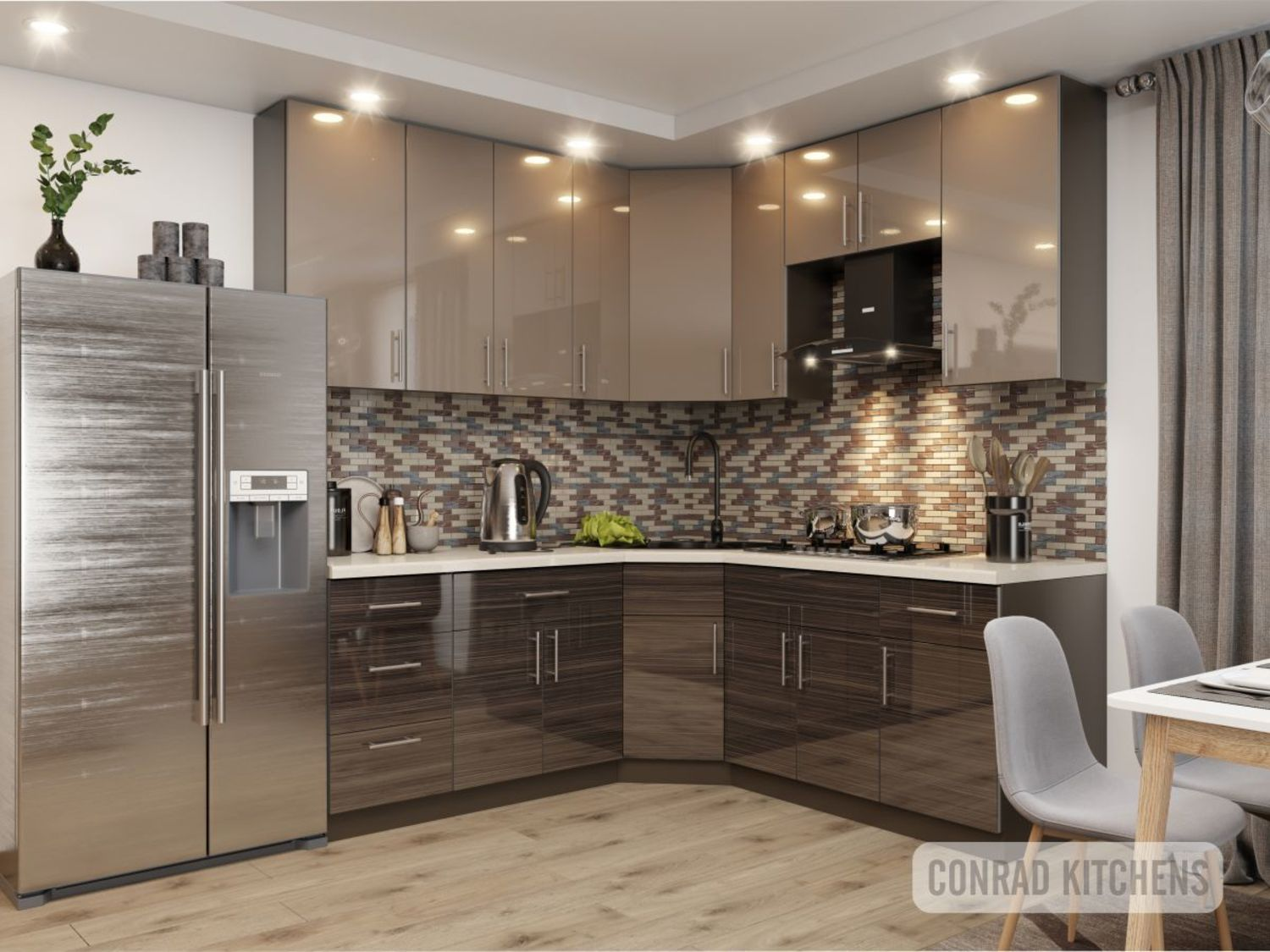 Brown Zebrano & Latte Acrylic Kitchen. Choose kitchen ...